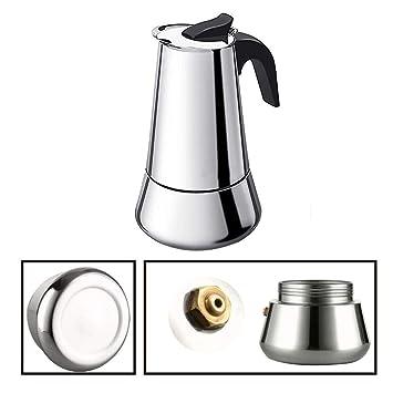 Máquina de café italiana de acero inoxidable, café espresso de inducción, chapado en cobre