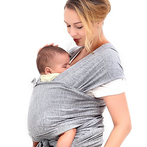 Innoo Tech Baby Sling Carrier Natural Cotton Nursing Baby Wrap Suitable for Newborns to 35 lbs Breastfeeding Sling Baby Holder Soft Safe and Comfortable Nice Baby Shower Gift (Cotton Infant Baby Wrap)