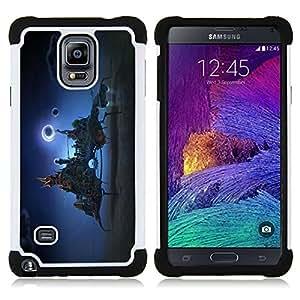 """Samsung Galaxy Note 4 IV / SM-N910 - 3 en 1 impreso colorido de Altas Prestaciones PC Funda chaqueta Negro cubierta gel silicona suave (Ciudad de la fantasía en el cielo"""")"""