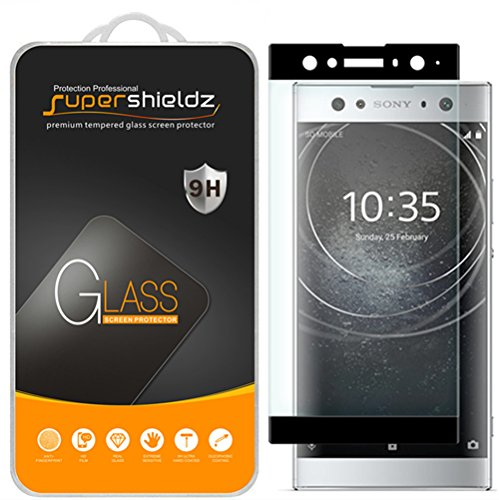 Supershieldz for Sony (Xperia XA2 Ultra) Tempered Glass Screen Protector, [Full Screen Coverage][3D Curved Glass] Anti-Scratch, Bubble Free, Lifetime Replacement Warranty (Black) ()