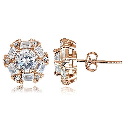 Hoops & Loops Rose Gold Flash Sterling Silver 4.38ct Cubic Zicronia Baguette-Cut Flower Stud (14k Rose Gold Moonstone Earrings)