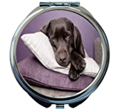 Rikki Knight Black Labrador Dog on Pillows Design Round Compact Mirror