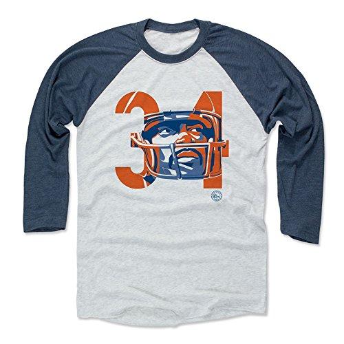 34 Walter Payton Jersey (500 LEVEL's Walter Payton Baseball Shirt S Indigo / Ash - Walter Payton Tribute 34 - Vintage Chicago Football Fan Gear)