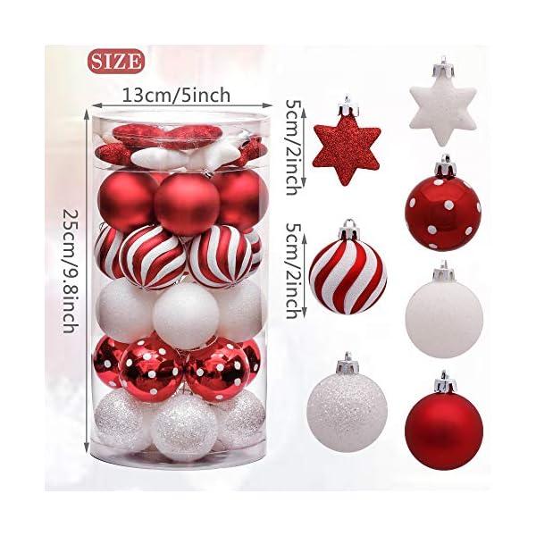 Victor's Workshop Addobbi Natalizi 35 Pezzi 5cm Palle di Natale, Oh Deer Red e White Shatterproof Christmas Ball Ornaments Decoration for Christmas Tree Decor 2 spesavip