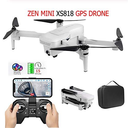 Visuo XS818 Zen Mini Drone with Dual Camera 4K HD Foldable GPS Wifi FPV Optical-Flow Follow Me RC Quadcopter Headless…