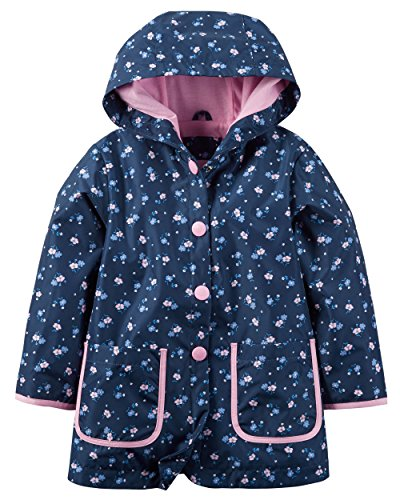 Carter's Little Girls' Hooded Rain Jacket (M-5/6, Blue Floral)
