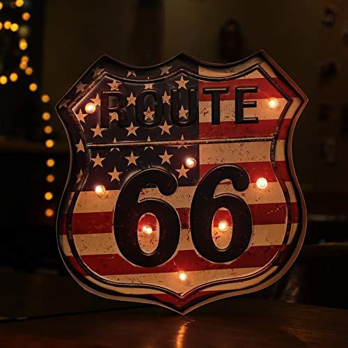 PANASIGN LED Sign Bar Decor for Home & Pub, LED Metal Sign Decorative Bar LED Metal Wall Light Sign (Route 66)