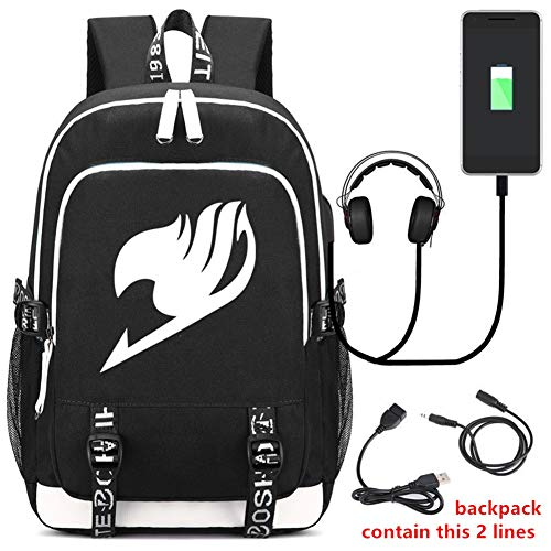 Gumstyle Fairy Tail Anime Multifunction Schoolbag Travel Bag Laptop Backpack with USB Charging Port and Headphone Jack 8