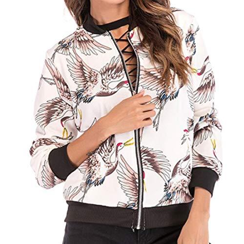 Sleeve Long Jacket Crane Varsity MogogoWomen Slim Casual 1 Print FAnXxZU