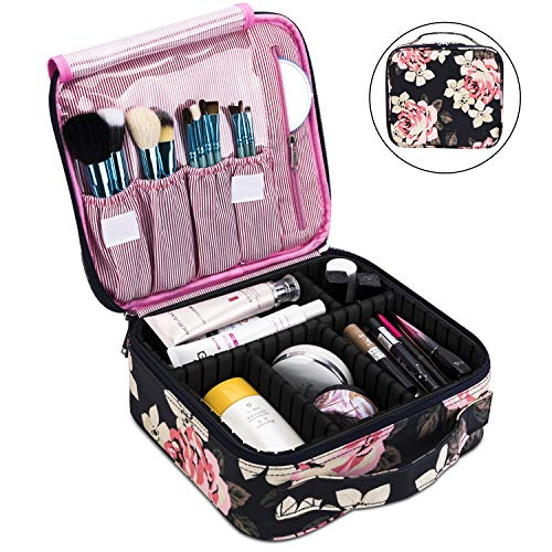 Makeup Bag Travel Cosmetic Bag for Women Nylon Cute Makeup Case Large Professional Cosmetic Train Case Organizer with Adjustable Dividers for Cosmetics Make Up Tools Toiletry Jewelry,Dark Blue ()