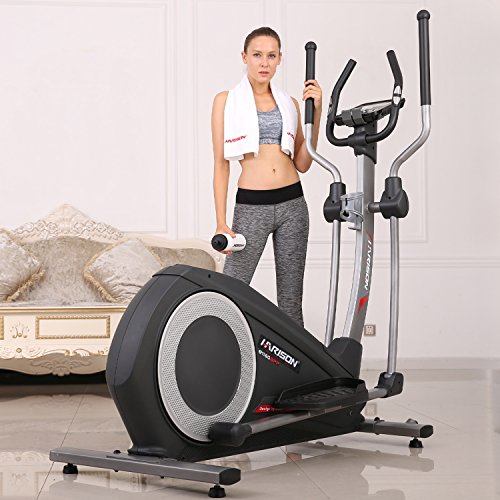 HARISON Elliptical Trainer,Electromagnetic Resistance Bike Home Use with 32 Levels of Resistance,LCD Display,12 Groups of Preset Fitness - Cross Trainer Resistance Elliptical