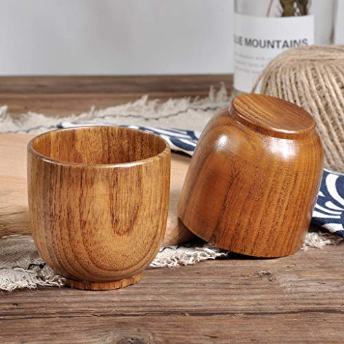 Gotian Natural Wooden Cup Wood Coffee Tea Beer Juice Milk Water Mug Handmade ~ Natural Jujube Wood, Healthy and Natural ~ Small Teacup (6.5x6.5 cm) - Green Glass Basket