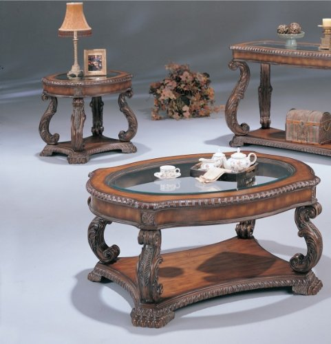Doyle Traditional Oval Cocktail Table with Glass Inlay Top by Coaster