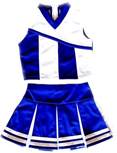 Girls' Cheerleader Cheerleading Outfit Uniform Costume Blue/White (M / 5-8)