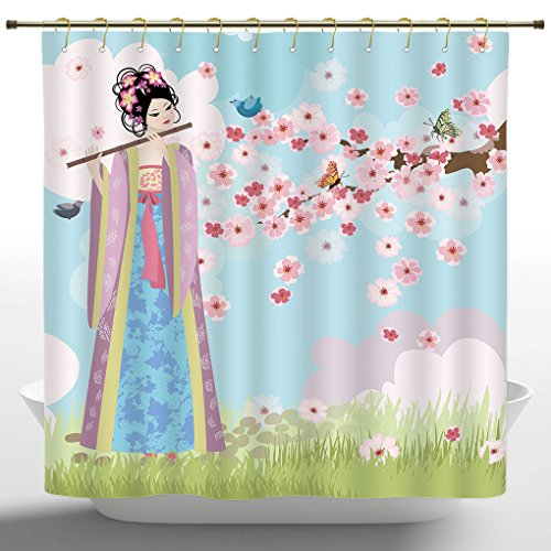 Artistical Shower Curtain by iPrint,Music Decor Collection,Oriental Girl near Cherry Blossoms Spring Petals Butterfly Grassland Japan Design Print,Blue Pink Green