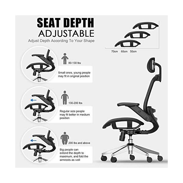 SNOVIAY Chaise de bureau ergonomique avec dossier haut en maille avec accoudoirs rembourrés, appuie-tête réglable…