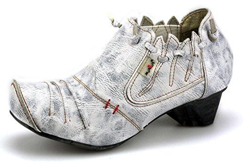 TMA Damenschuhe Halbschuhe Leder Slipper 8668 Weiß-Beige