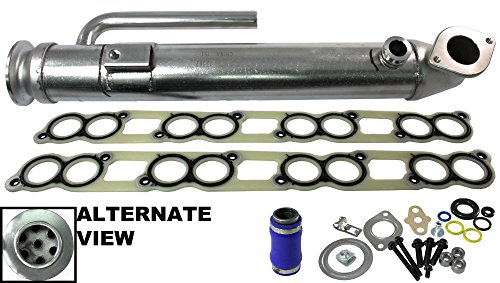 Egr Cooler - APDTY 015371 EGR Cooler Assembly With All Gaskets (Upgraded Stainless Steel Tube Design) Replaces The Early Ford 6.0L Round Design Found on 2003-2004 Ford (Replaces 3C3Z9P456B)