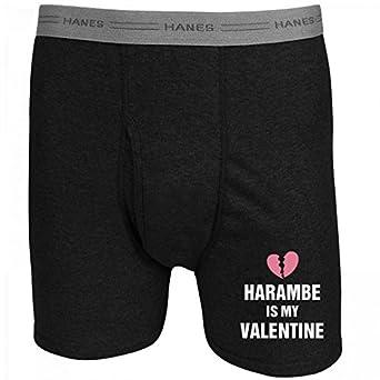 harambe is my valentine boxers hanes black boxer brief underwear