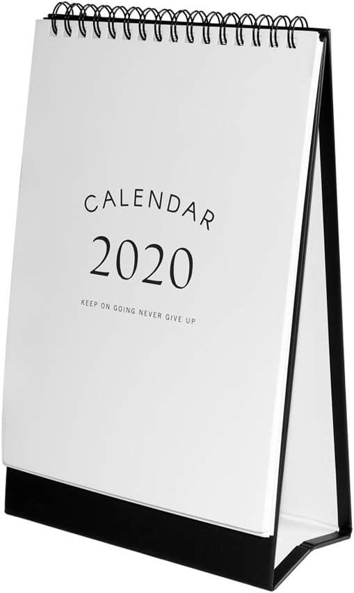 "2019-2020 Desk Calendar Monthly Desk Pad Calendar 5.9""x2.8""x9.3"" Steel Coil Spiral Desktop Calendar for Daily Schedule Planner Best for Home School and Office"