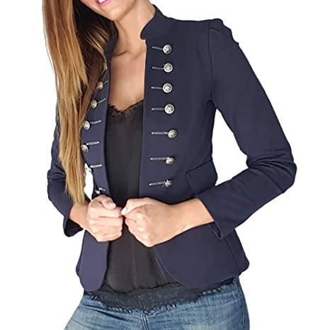 Shujin Mujer Vintage Military Blazer Gothic Abrigo Cuello ...
