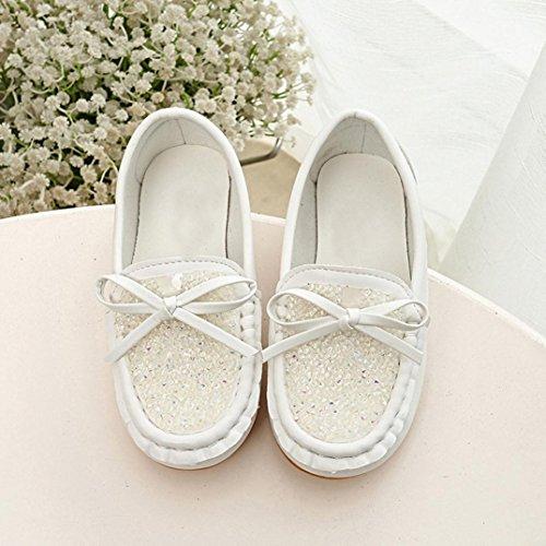 IGEMY Kleinkind Baby nette Bowknot weiche runde Kopf zufällige Erbsen flache Schuhe Weiß