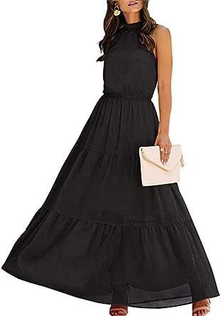 Women's Casual Backless Loose Ruffle Sundress Halter Neck Sleeveless Floral Long Maxi Dress with Belt