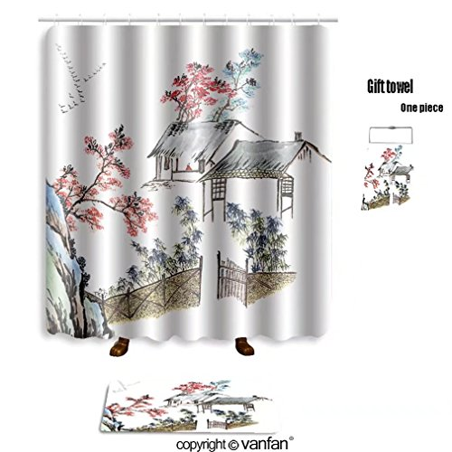 Vanfan Bath Sets With Polyester Rugs And Shower Curtain Classic China Chinese Painting The Old House