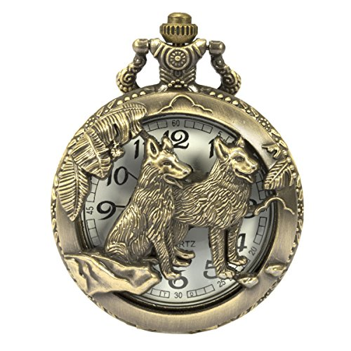 SIBOSUN Pocket Watch Steampunk Wolf Wolves Pattern Chain Mens Hollow Case Quartz Arabic Numerals