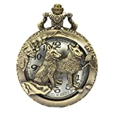 SIBOSUN Pocket Watch Steampunk Wolf Wolves Pattern Chain Box Hollow Case Quartz Arabic Numerals