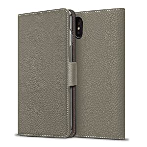 BONAVENTURA iPhone 8/7 Leather Wallet Case w/ Magnet Lock (European Full-Grain PERLINGER Leather) | Luxury Flip Cover Case w/ Magnet [iPhone 8/7 | Taupe]