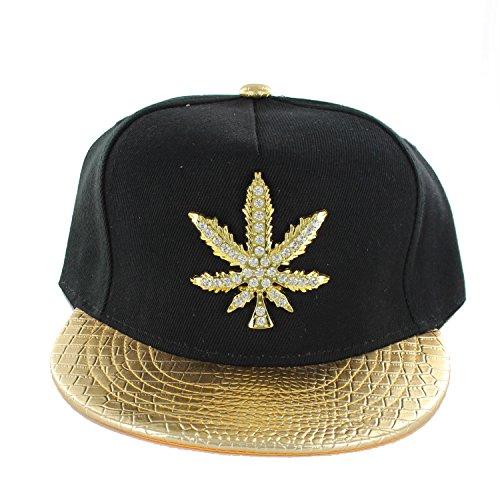 One-Size-Marijuana-Flat-Bill-Snapback-Baseball-Cap-Hat-Black-Gold