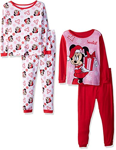 (Disney Girls' Toddler Minnie Mouse 4-Piece Cotton Pajama Set, Holiday Hearts)