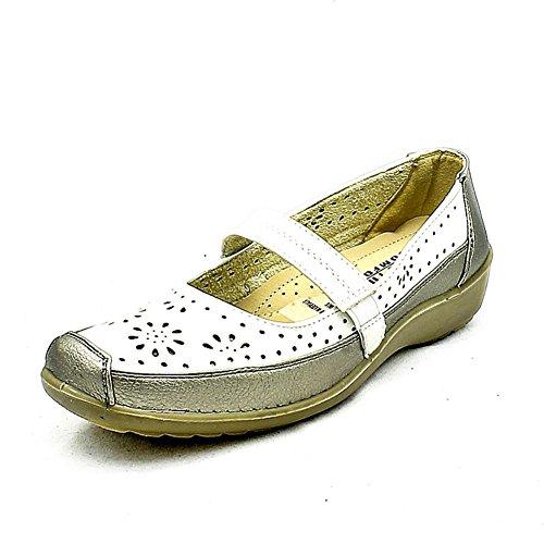 Planas de las señoras zapatos de confort con la barra correa White