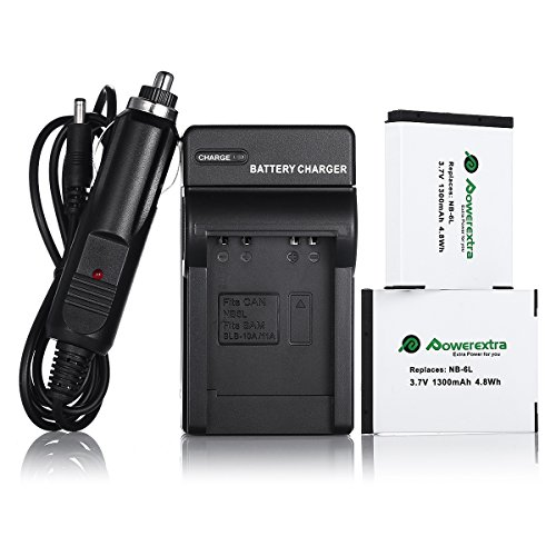 Powerextra Replacement Canon NB-6L 3.7V 1300mAh Battery and Charger for Powershot S120, SX510 HS, SX280 HS, SX500 IS, SX700, D20, S90, D30, ELPH 500, SX270, SX240, SX520