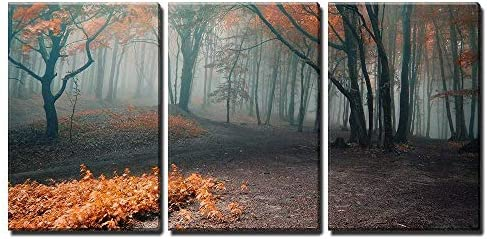Trees with Red Leafs in a Mysterious Fantasy Forest with Fog x3 Panels