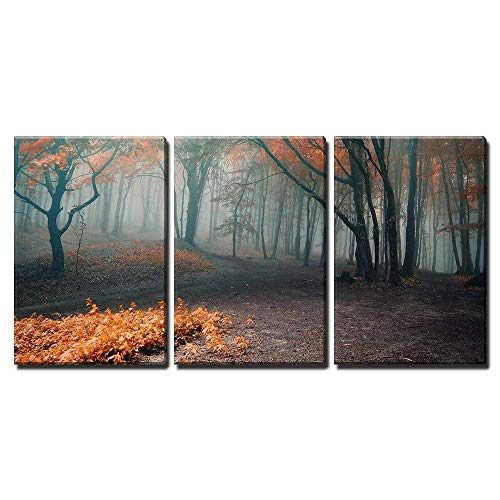 Sofa Leaf Piece 3 (wall26 - 3 Piece Canvas Wall Art - Trees with Red Leafs in a Mysterious Fantasy Forest with Fog - Modern Home Decor Stretched and Framed Ready to Hang - 24