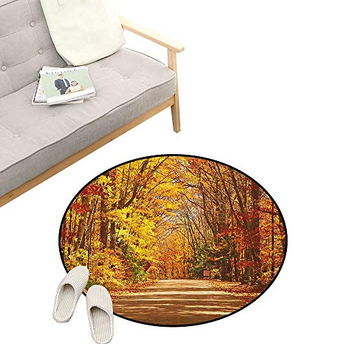 Fall Custom Round Carpet ,Scenic View Outdoors Empty Roadway Surrounded with Deciduous Trees Image, The Custom Round Non-Slip Doormat 39