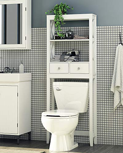 Finish Shelf Bathroom - Spirich Home Modern X- Frame Bathroom Shelf Over The Toilet, Bathroom Shelf with Two Drawers, Bathroom Spacesaver, White Finish