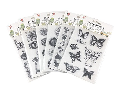 Honbay 6 Sheets Different Style Butterfly Flower Clear Stamps for Card Making Decoration and Scrapbooking - Clear Rubber Stamps