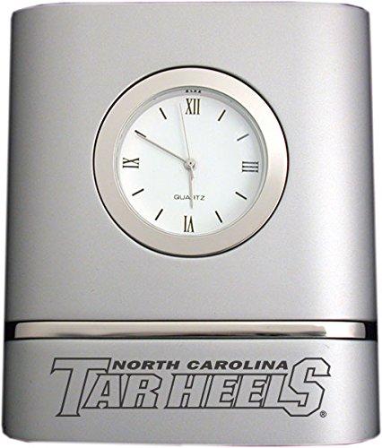 North Carolina Desk Clock - University of North Carolina at Chapel Hill- Two-Toned Desk Clock -Silver