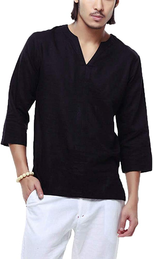 Mens Cotton Linen T-Shirt Casual Shirts Solid Colour V-Neck Long Sleeve Loose Collarless Tops