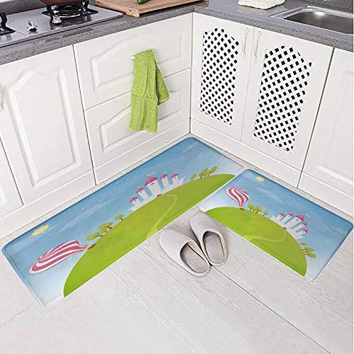 2 Piece Non-Slip Kitchen Mat Rug Set Doormat 3D Print,Hills