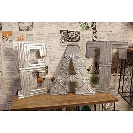 Vintage Galvanized Metal U0026quot;Eatu0026quot; Lettets Wall Sign   Cut ...