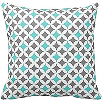 Amazon.com: VeraDa Pillow Cover Gris y Turquesa patrón de ...
