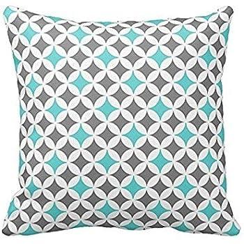 Amazon.com: VeraDa Pillow Cover Gris y Turquesa patrón de ...