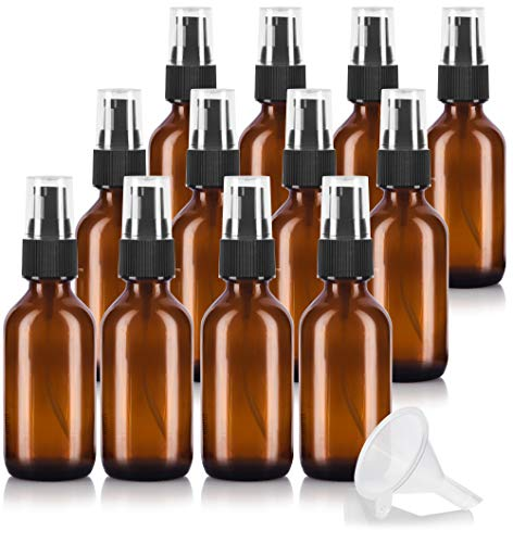 2 oz Amber Glass Boston Round Treatment Pump Bottle (12 pack) + Funnel for essential oils, aromatherapy, food grade, bpa free ()