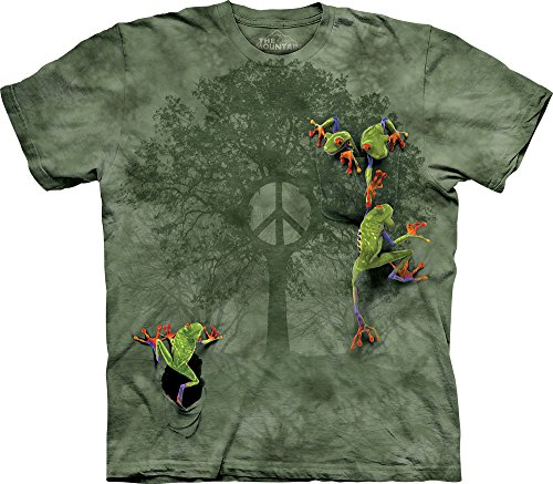 The Mountain Men's Peace Tree Frog Short Sleeve T-Shirt,Green,Large