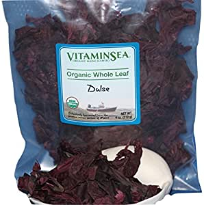 Raw Wild Dulse Seaweed Whole Leaf (4 oz) USDA Organic and Kosher Hand Harvested from the Atlantic Ocean Maine Coast Vegan Sea Vegetables VitaminSea (Dulse WL, 4 oz)