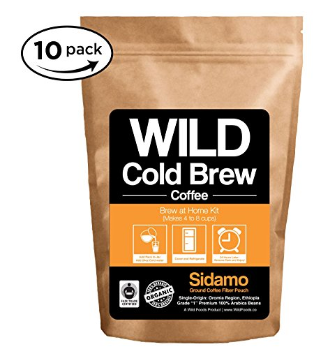 Cold Brew Coffee Kit, Brew-At-Home Wild Coffee Pouch made with Ground Organic Wild Coffee, Fair trade, Single-origin, Fresh roasted High-performance Coffee (Sidamo Medium, 10 Pouch) (Cup Oz Each French Press compare prices)